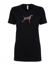 More details for weimaraner leopard print t-shirt gift idea dog ladies top ghost dog