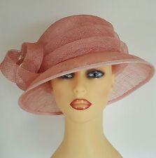 Ladies Wedding Hat Races Mother Bride Ascot Pink Peach Loops