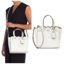 Kate Spade White Magnolia Leather Dual Handles Eyelet Mini Mina Handbag New