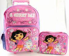 Dora Large Rolling Backpack + Lunch Bag 2 Pc Sets