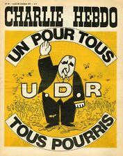 """""""CHARLIE HEBDO N°54 du 29/11/1971"""" U.D.R. """"UN POUR TOUS / TOUS POURRIS"""""""