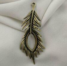 36715 Antiqued Bronze Vintage Alloy Peacock Feather Pendant Charm Decor 12pcs