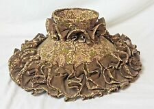 VICTORIAN Replacement Hurricane Chimney Lamp Shade Brown Linen & Floral Ruffles
