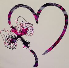 "Pink Camo Heart Angel Cross Country Vinyl Decal 5"" Wild Love Muddy Cowgirl Rodeo"