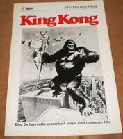 original Werberatschlag ,KING KONG ,John Guillermin,Jeff Bridges,Jessica Lange