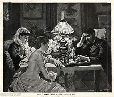 Partita a Scacchi. Grande Veduta. Capolavoro. Stampa Antica + Passepartout. 1883