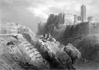 Athens AREOPAGUS ACROPOLIS ARES MARS HILL TEMPLE RUINS, 1847 Art Print Engraving