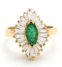 2.25 Carat Natural Emerald and Diamonds in 14K Solid Yellow Gold Women Ring