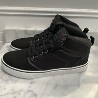 NEW Mens Canvas High Top Skate Shoes Black White Sneakers Size 8