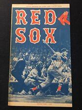 1959 Boston RED SOX vs Cleveland INDIANS UNSCORED Baseball Scorebook Program