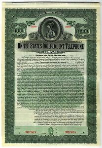 United States Independent Telephone Co., 1905 $1000 Specimen 5% Gold Coupon Bond