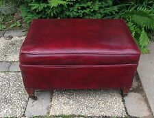 VINTAGE RED OTTOMAN HASSOCK FOOTSTOOL MAD MEN HARD TO FIND