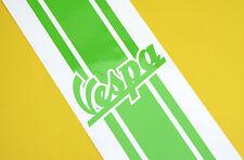 Logo Vespa Scooter raya de la etiqueta engomada Piaggio metálica verde lima 100cm X 7cm