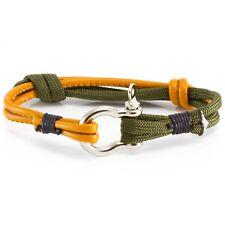Mens Real Orange Leather Surfer Green Rope Knot Wristband Bracelet Adjustable