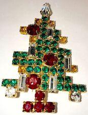 🔥 Eisenberg Ice Christmas Tree Pin Brooch Vintage Signed Rhinestones 5 Candle
