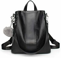 Womens Fashion Backpack Anti-theft Travel School Shoulder Bag Waterproof - BLACK