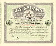 Bolsalona Industrial y Comercial > 1935 Buenos Aires Argentina bond certificate