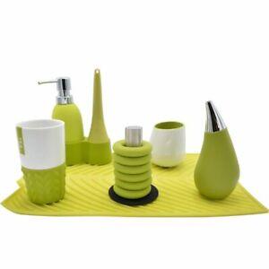 Flow Kitchen & Bathroom Set In All Green (Soap Dispenser, Mugs, Trivets, Etc)
