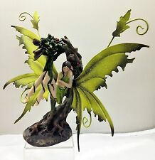 Green Fairy Sleeping in Tree Legends of Avalon Figurine with Metal Wings