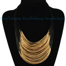 Hot Fashion Handmade Multilayer Gold Glass Resin Seed Beads Pendant Bib Necklace