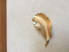 Brushed and Polished Gold-Tone Leaf Brooch/Pin