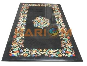 4'x2' Black Marble Top Dining Table Multi Stone Floral Inlay Living Decors B583