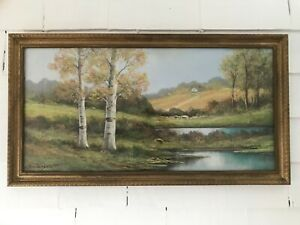 Antique C.1900 Andrew Gunderson Pastel on Paper Landscape Painting, Framed Glass