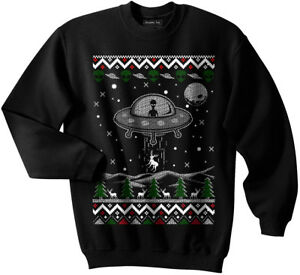 UFO Ugly Christmas Sweater, Alien, Spaceship, NASA, Holiday, GLOW IN THE DARK