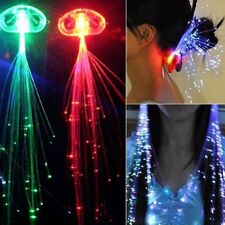 6pcs LED Fiber Optic RGB Lights Up Hair Barrette Clip Braid Fashion Party