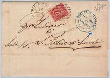 ITALIA REGNO storia postale: BUSTA annullo COLLETTORIA di  NUVOLARA in BLU! 1880
