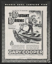 Distant drums Gary Cooper vintage movie poster