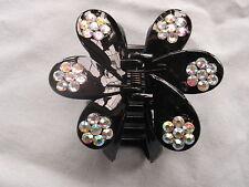 Flower hair clamp clip claw black plastic diamante flowers bling claws grip