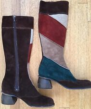 Vintage 70s Suede Brown Green Retro Boho Gypsy Festival Patch Tall Boots 8.5