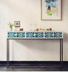 Handmade Bone Inlay 3 Drawer Blue Geometric Design Console Table Desk