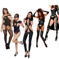 Women Faux Leather Lingerie Dress Bodysuit Black Teddy Catsuit Hot&Sexy Clubwear