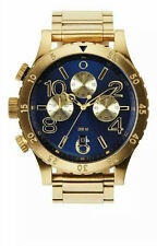 New Authentic Nixon Mens Watch 48-20 Chrono Gold Blue Sunray A486-1922 A4861922
