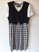 Vintage Allison Che Womens 18 Checkered Black Cream Mock Vest Dress USA