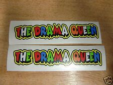 "Valentino Rossi style text - ""THE DRAMA QUEEN""  x2 stickers / decals  - 5"" x 1"""