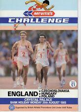 Programme England v Czechoslovakia v Hungary v Poland 26.8.1985 @ Crystal Palace