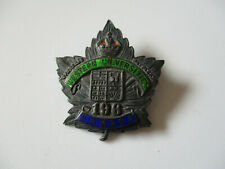 Wwi Overseas Battalion Canada 196th Western Universities Collar Insignia Pin