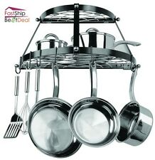 pot pan rack organizer wall mount hanging cookware holder kitchen storage shelf