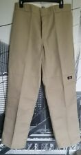 Dickies Men's Khaki Double Knee Cell Phone Pocket Loose Fit Work Pants Sz 32x32