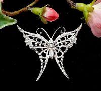 Vintage Silver Diamond Cut Butterfly Brooch