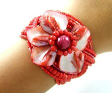"""1.8"""" Red Flower Mother of Pearl Seed Beads Cuff Bracelet 6""""-7"""" Adjustable; DA091"""