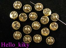 100pcs Antiqued gold plt FACE Flat ROUND spacers A615