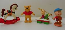 Vintage Christmas Ornaments Peanuts Charlie Brown Pooh Rocking Horse Baseball