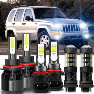 For Jeep Liberty 2002-2007 6x LED Headlight + Fog Light + Turn Signal Lamp Bulbs
