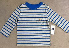 BABY GAP GREY T.SHIRT WITH BLUE STRIPES AND LONG SLEEVES - AGE 3y BNWT