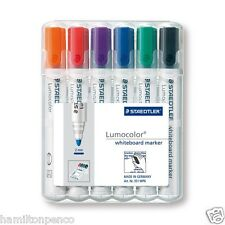 STAEDTLER LUMOCOLOUR WHITEBOARD MARKER PENS - desktop box of 6 colours