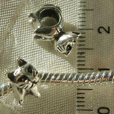2 PERLES CHARMS CHATS CHATONS 11x7mm pour BRACELET SERPENT METAL ARGENTE *E141